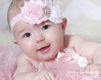Pink and White headband, baby flower headband, headband, shabby chic roses headband,pink headband