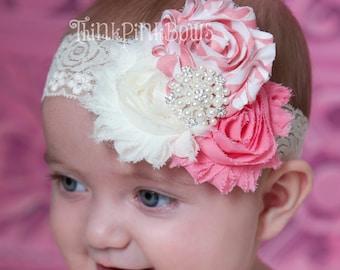 Baby Headband,Newborn Headband, Baby  TRIO Headband,Shabby chic Headband, Flower Headband, Lace Headband,Baby Headbands,Baby Hair Bows.(4)