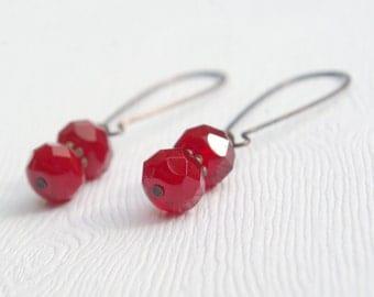 Lipstick Red Earrings
