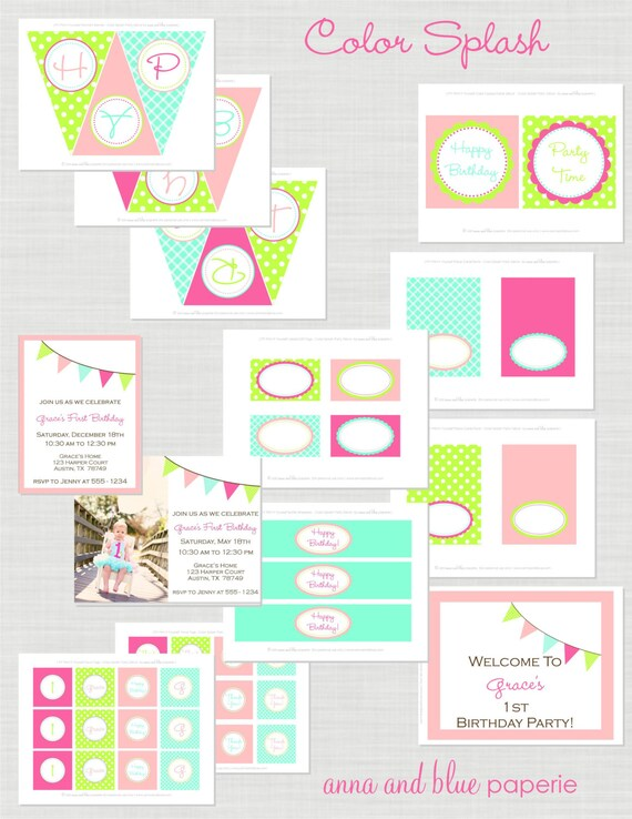Colorful Birthday Party - Full Printable Party Collection - anna and blue paperie