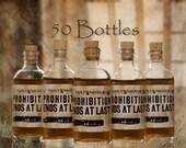 50 Prohibition Cork Glass Bottles for Wedding Favors Empty Bottles 1920s
