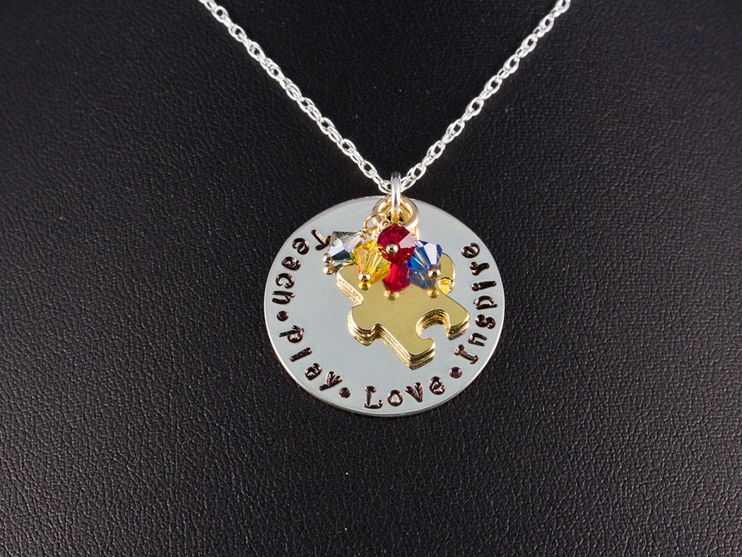 sted necklace sterling silver necklace autism necklace