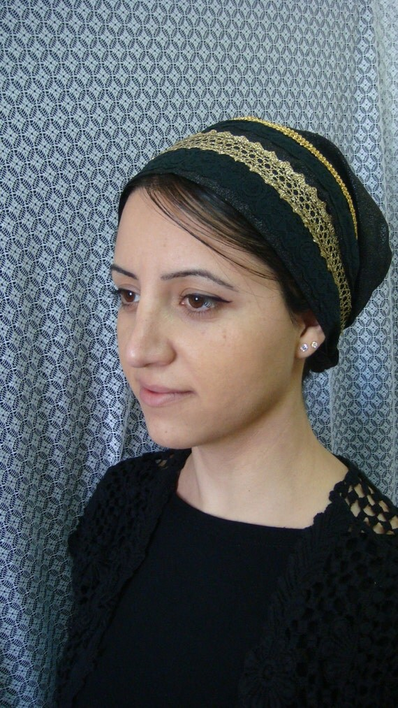 fancy Tichel Hair Snood Head Scarf Bandana no need to wrap just tie in the back