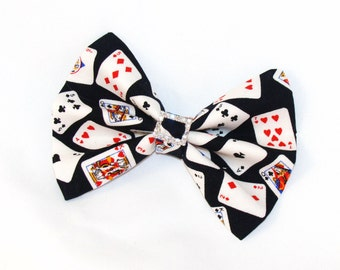 Playing Cards Poker with Rhinestones Hair Bow Hair Clip Rockabilly Pin up Teen Woman