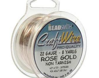 22 gauge  Rose Gold Craft Wire  BeadSmith  Round  24 feet  Non- tarnish