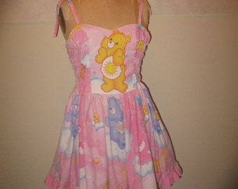Custom Made to Order Sunshine Care Bear Smocked back tie at shoulde or halter SweetHeart Geekery Pin UP Mini Dress