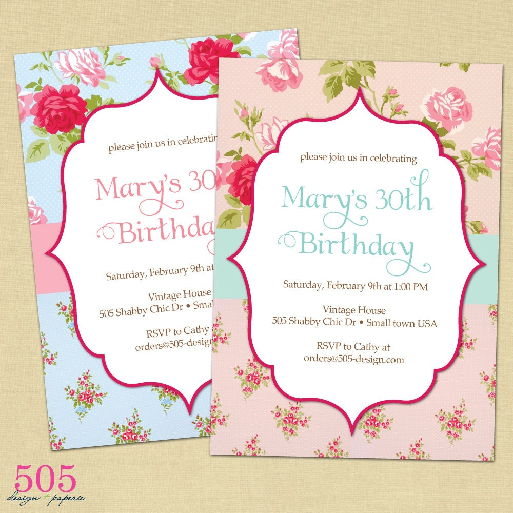 Shabby Chic Birthday Invitations was very inspiring ideas you may choose for invitation ideas