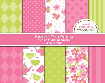 Sweet Tea Party Digital Paper