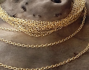 Vermeil Gold Necklace Chain - 18 Inch Finished Cable Chain  - 1.2mm Cable - Dainty - Ready to Wear - Pick your Package Size  CH106