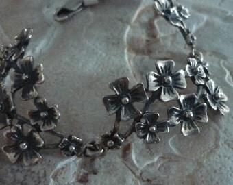 Sterling Silver Bracelet, Floral Bracelet, Wide Silver Bracelet, Chunky Organic Bracelet, Woodland Botanical Bracelet, Flowers Bracelet.