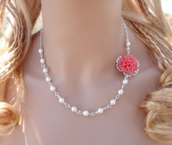 Elegant Bridal/Bridesmaid Jewelry - Pink Flower Pearl  Necklace- Bridesmaid Jewelry, Chrysanthemum  Flower