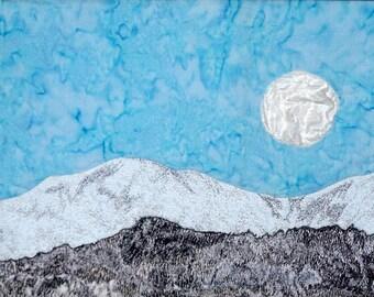 Winter Moon Textile Art Wall Hanging