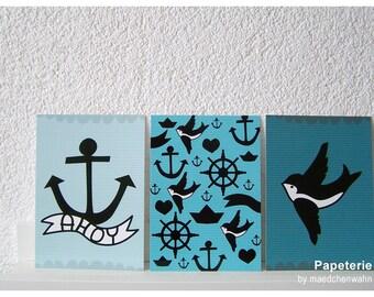Maedchenwahn TATTOO LOVE Triptychon 3 Greeting Cards