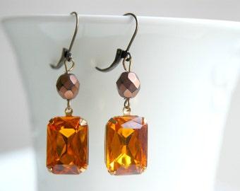 Antique Rhinestone Earrings, Vintage Jewel Earrings, Estate Style Earrings, Topaz Earrings