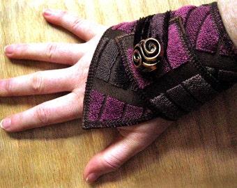 Purple and Brown Geometric - Fabric Cuff Bracelet - Boho style - Festival fashion