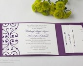 Shimmer Metallic or Matte Purple Eggplant Violet Violette Pocket Folders Folder Wedding Invitations Invitation Invites Invite Sample