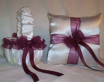 White Satin With Burgandy Ribbon Trim Flower Girl Basket And Ring Bearer Pillow Set 2
