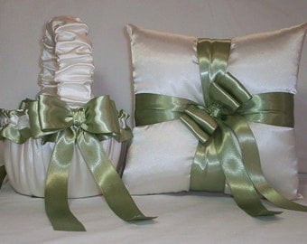 Ivory Cream Satin With Sage Green Ribbon Trim Flower Girl Basket And Ring Bearer Pillow Set 2