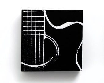 Music Wall Art: Acoustic Guitar on Wood (Black and White, 6 x 6 in) Screen Print & Painting, Modern Home Decor