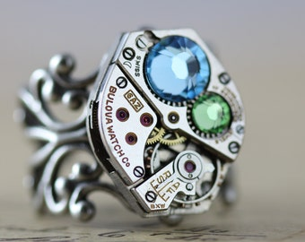 Steampunk Ring - READY TO SHIP Steam Punk Jewelry Aquamarine Ring Blue Peridot Ring Green March Birthstone August Birthstone Swarovski Ring