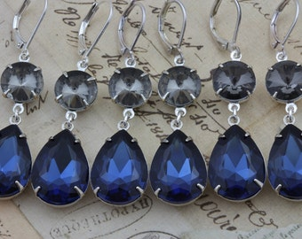Navy Blue Wedding Bridesmaids Gift Jewelry Set of 4 Navy Montana Sapphire Blue Earrings Black Diamond Something Blue Silver