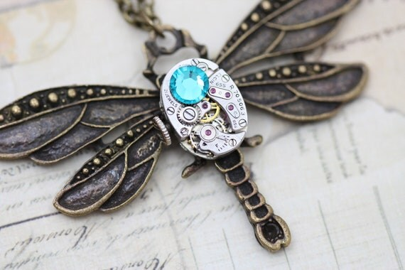 Steampunk Necklace Steam Punk Dragonfly Necklace Jewelry