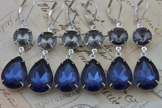 Wedding Gift Jewelry: Navy Blue Bridesmaids Earrings Jewelry Gray Bridal Party Gift