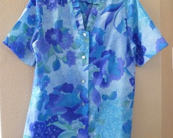 Diane's of Honolulu Blouse, 1960's, purples, blues and green Flowers