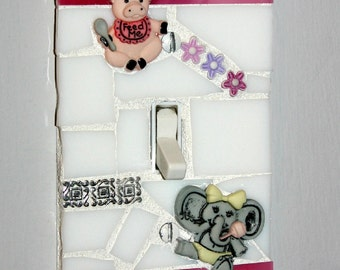 NURSERY THEME Baby Girl Pink Mosaic Single Light Switch Cover / Wall Plate