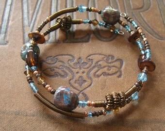 Beaded Memory Wire Bracelet Multi Strand Turquoise Vintage Bronze Wrapped Bracelet