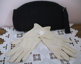 1940's Corde Purse and Gloves, Navy Blue