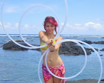 """The """"Double Double"""" Hoop Set: Two Full Size Twin + Two Mini Size Poi Hula Hoops with Custom Tubing, Diameter & Grip Options!"""