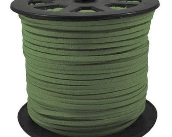 Faux Suede  Lace Leather Cord Flat Dark Green 3x1.5mm-20ft