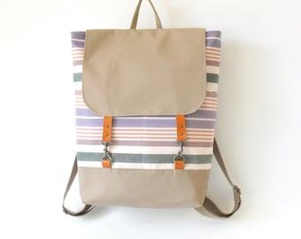 Pastel stripe canvas  Backpack , diaper bag, laptop bag with leather closure and 2 front pockets, Featured on Frankie, Design by BagyBags