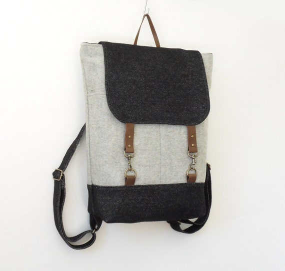 ONLY 1 LEFT, Unisex, Melange gray and denim wool  Backpack, laptop bag  with leather closure and 2  front pockets, Design by BagyBags