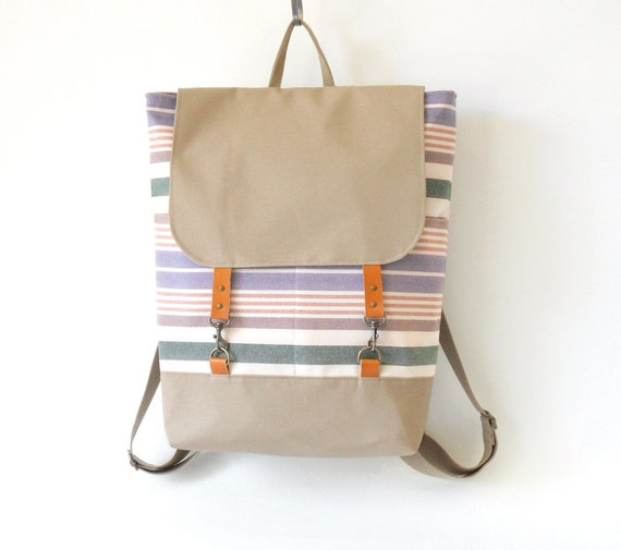 Pastel stripe canvas  Backpack , laptop bag with leather closure and 2 front pockets, Featured on Frankie, Design by BagyBags
