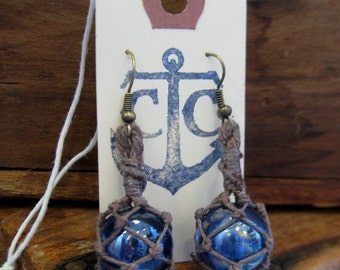 Miniature Fishing Float Earrings - Royal Blue with dark aged hemp