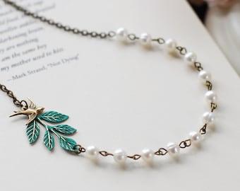 Blue Verdigris Leaf Branch Cream Pearls Brass Bird Necklace. Woodland Wedding Rustic Vintage Wedding Bridal Necklace, mothers day gift