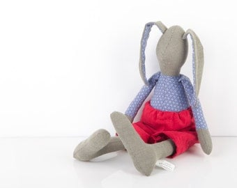 Easter bunny - rabbit hare, green gray Rabbit doll , wearing Blue with Retro Print shirt and trd Corduroy pants, handmade fabric doll