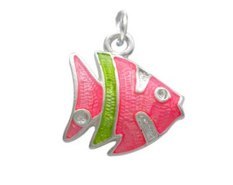 Silver Plated  Enameled Pink Tropical Fish Charm, Qty.1