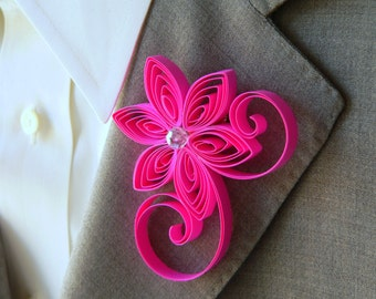 Neon Pink Boutonniere, Hot Pink Buttonhole, Neon Pink Wedding, Flowers for Groom and Groomsmen, Boutonnieres for Groomsmen