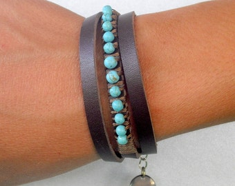 Turquoise bracelet, leather bracelet, wrapped leather bracelet, casual bracelet, triple wrapped bracelet, beads bracelet, gift under 50