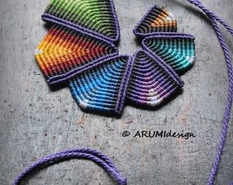 Cavandoli macrame statement necklace PURPLE RAINBOW SPIRAL, geometrical fiber pendant, handmade