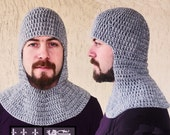 Crochet  Chainmail Coif grey-Medieval Coif-Knight Helmet