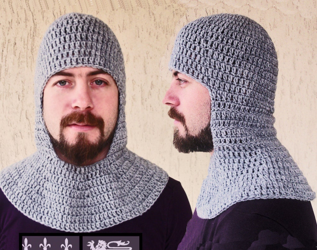 Knitted Chainmail Pattern : Crochet Chainmail Coif grey-Medieval Coif-Knight Helmet