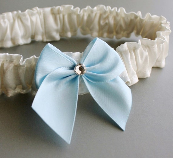 Toss Garter - Satin Garter with Bow and Swarovski Crystal (Choose Your Colors)