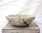 Ceramic Stoneware Bowl with Blue Horse and Abstract Drawings