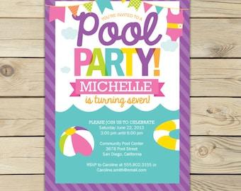 Pool Party Invitation Printable - Girl Pool Party - Summer Party Invitation - Pool invitation - Beach Party Invites - Pool Birthday Invite