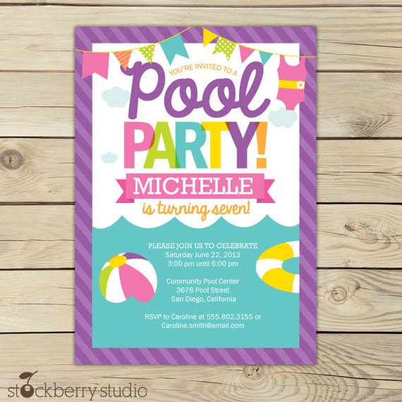 Free Printable Birthday Invitations For Girls Pool Party ...