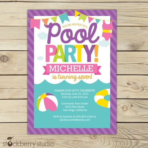 Pool Party Invitation Printable Girl Pool Party Summer – Free Printable Pool Party Invitations